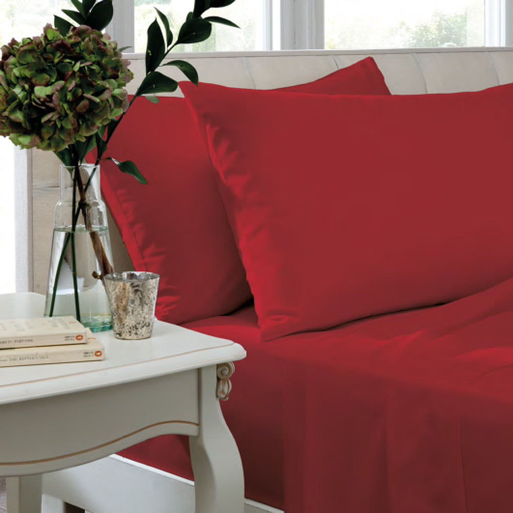 Catherine Lansfield, Combed Percale Non-Iron Sheeting, Red, 3 sizes