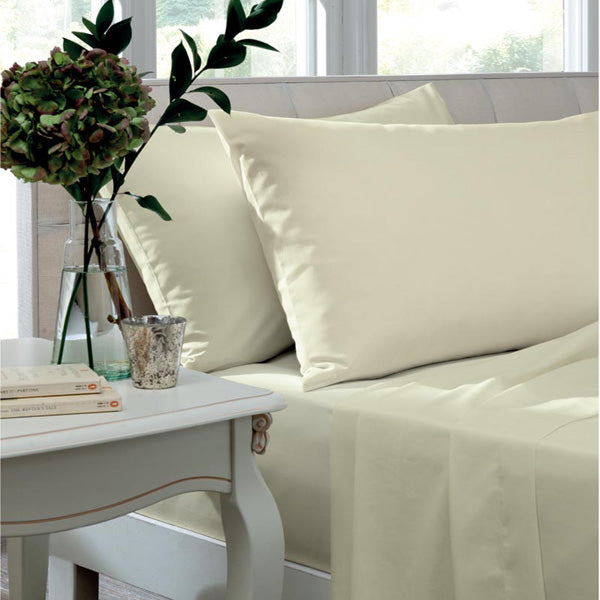 Catherine Lansfield, Combed Percale Non-Iron Sheeting, Cream, 3 sizes