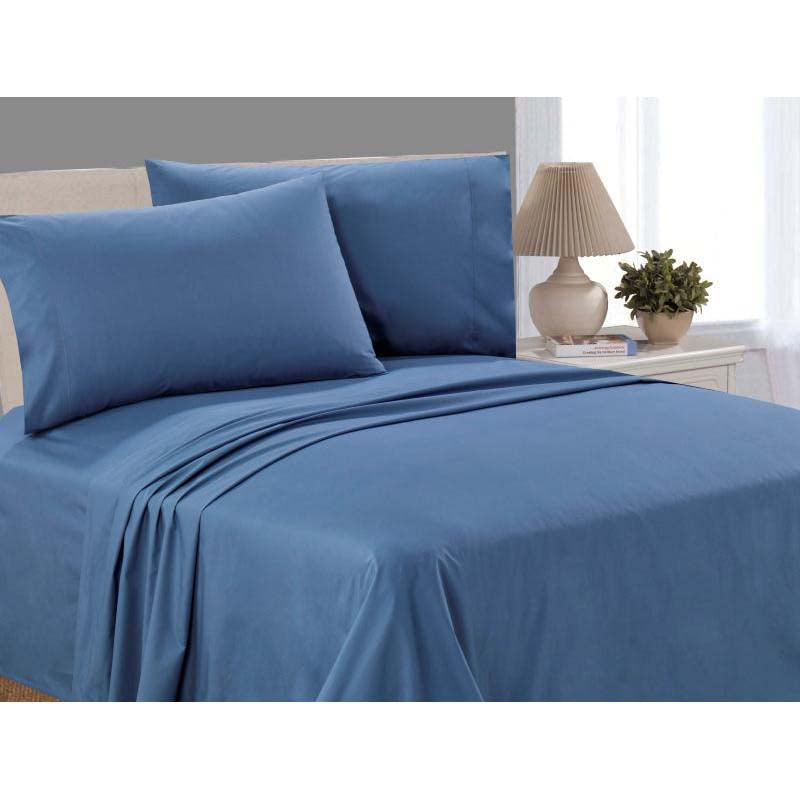Catherine Lansfield, Combed Percale Non-Iron Sheeting, Blue, 3 sizes