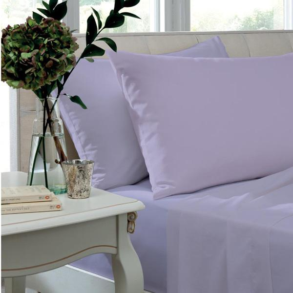 Catherine Lansfield, Combed Percale Non-Iron Sheeting, Lilac, 3 sizes