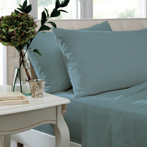 Catherine Lansfield, Combed Percale Non-Iron Sheeting, Teal, 3 sizes