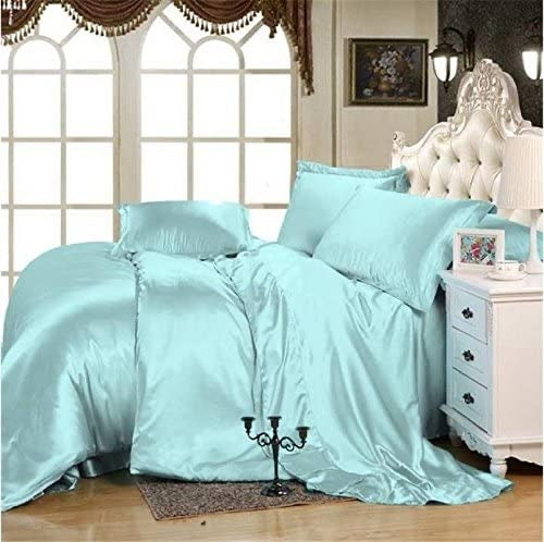 Satin 6 Piece Bedding Set, Aqua - Size Double