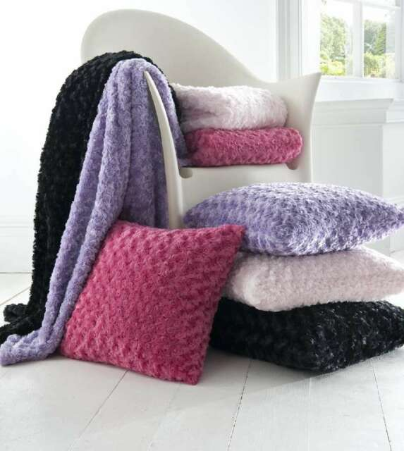 Curly Fur Throw and Cushion Cover - 3 Colours
