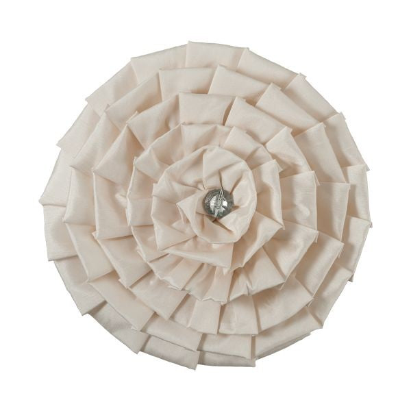 Catherine Lansfield Diamond Pleats Faux Silk Round Cushion - Cream