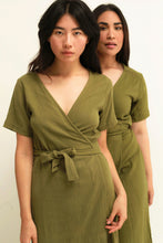 Load image into Gallery viewer, Enya WRAP DRESS - olive (cotton)