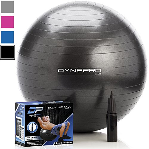 DYNAPRO Exercise Ball - 2,000 lbs Stability Ball - Professional Grade – Anti Burst Exercise Equipment for Home, Balance, Gym, Core Strength, Yoga, Fitness, Desk Chairs (Black, 45 Centimeters)