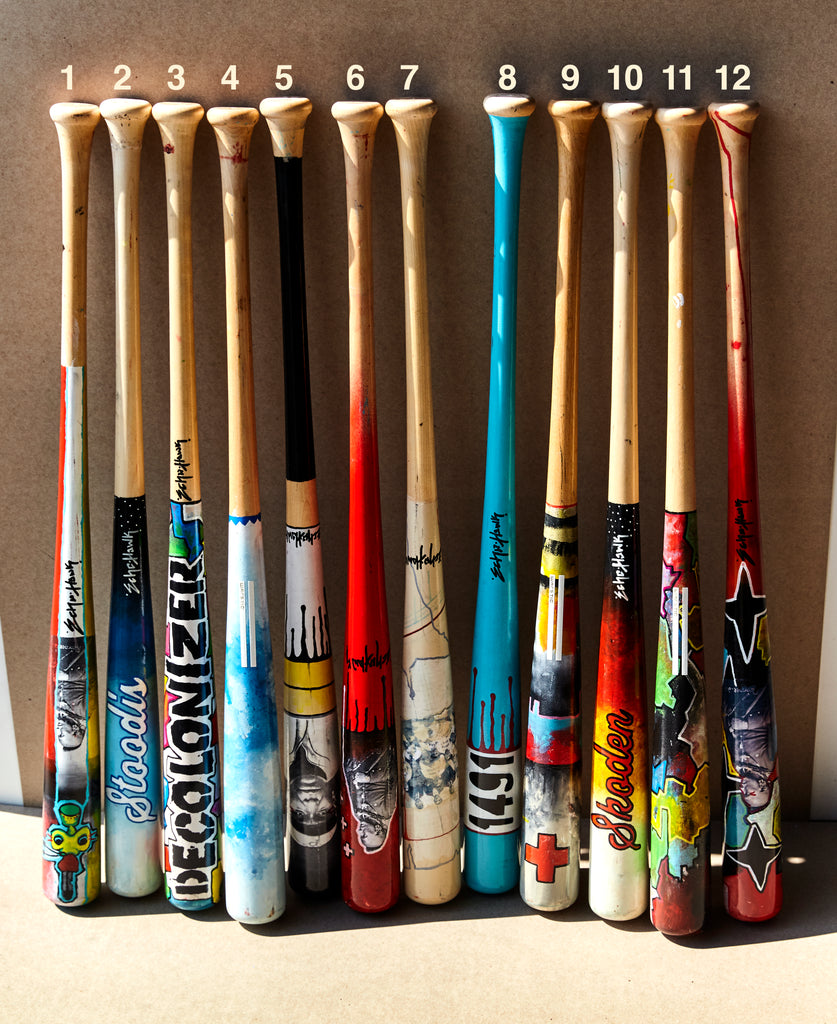 All of the Bunky Echo-Hawk Artist Series Bats
