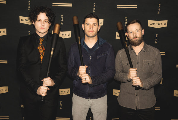 Warstic investors, Jack White and Ian Kinsler with Warstic founder, Ben Jenkins at Third Man Records Cass Corridor in Detroit.