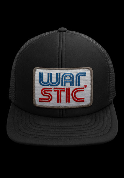 "Front of black trucker style hat with white patch that says ""Warstic"" in royal blue and blood red."