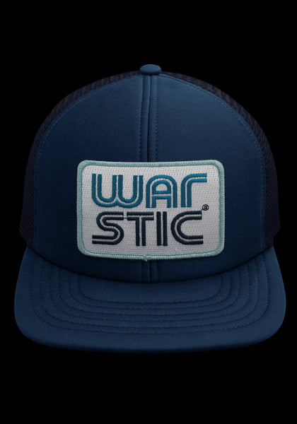 "Front of navy trucker style hat with white patch that says ""Warstic"" in royal blue and navy."