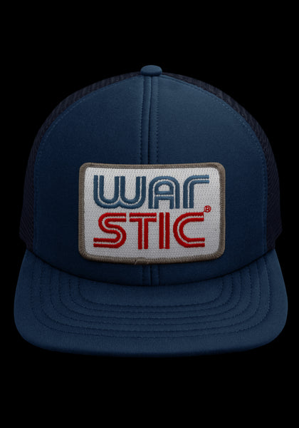 "Front of navy trucker style hat with white patch that says ""Warstic"" in royal blue and blood red."