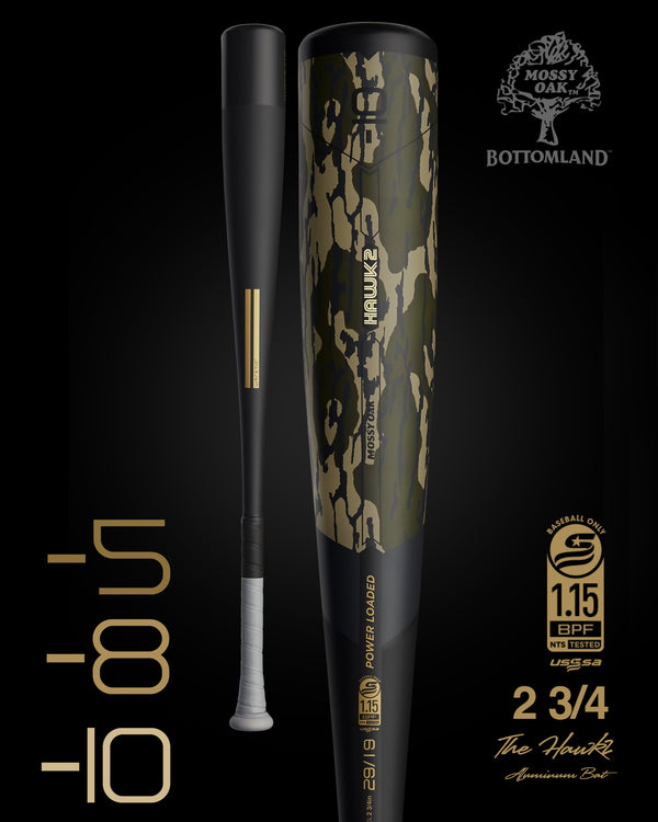 THE 2021 HAWK2 MOSSY OAK EDITION USSSA METAL BASEBALL BAT