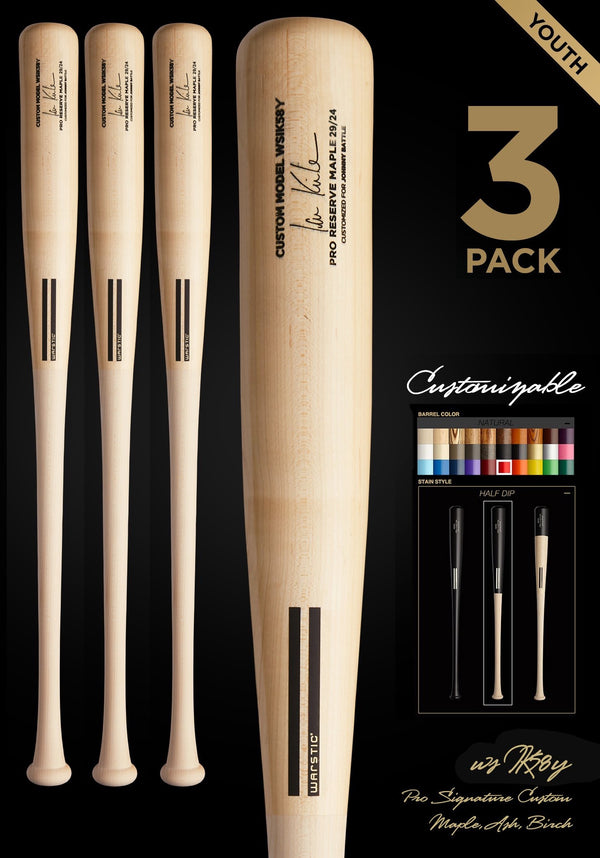 IAN KINSLER WSIK58Y YOUTH CUSTOMIZABLE PRO SIGNATURE WOOD BAT 3 PACK
