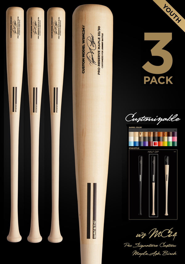 MIGUEL CABRERA WSMC24Y YOUTH CUSTOMIZABLE PRO SIGNATURE WOOD BAT 3 PACK