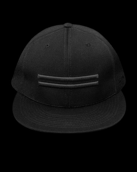 Black dry-fit baseball hat with black warstripes emblem.