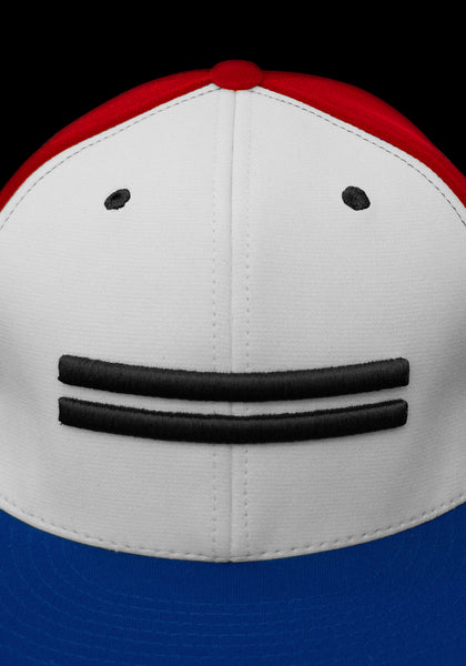 Close up of red dry-fit baseball cap with white front featuring black Warstic warstripe emblem with royal blue bill.