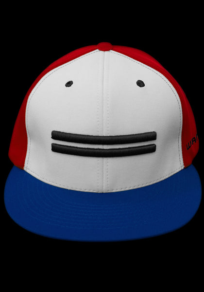 Red dry-fit baseball cap with white front featuring black Warstic warstripe emblem with royal blue bill.