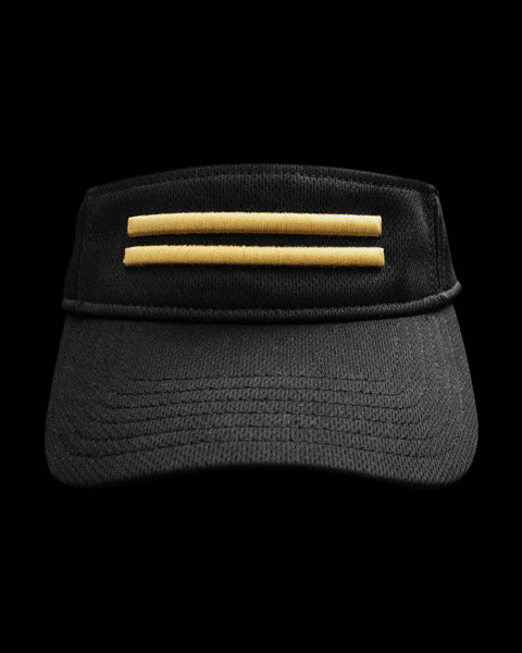 Black dry-fit visor with gold warstripes emblem.