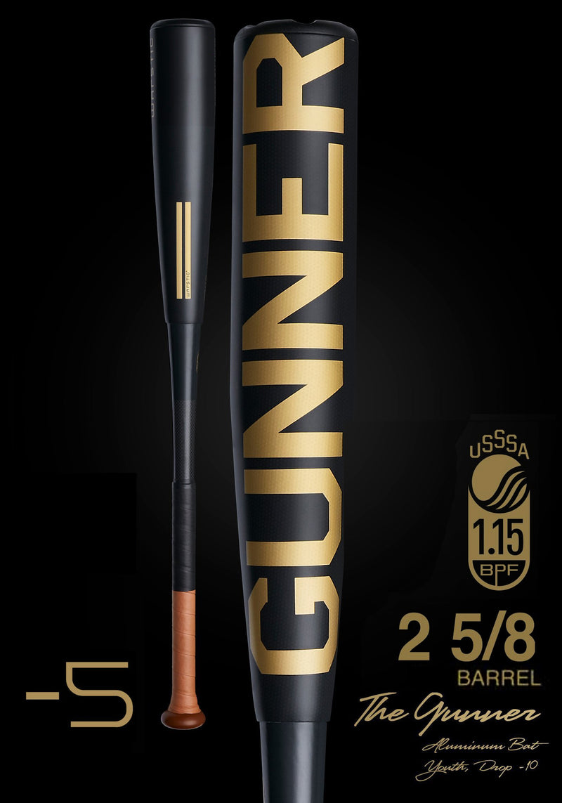 THE GUNNER LTD. EDITION BLACK USSSA METAL BASEBALL BAT, [prouduct_type], [Warstic]