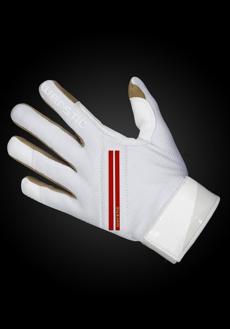 "WORKMAN2 ADULT & YOUTH BATTING GLOVES ""WHITE/BLOOD"", [prouduct_type], [Warstic]"