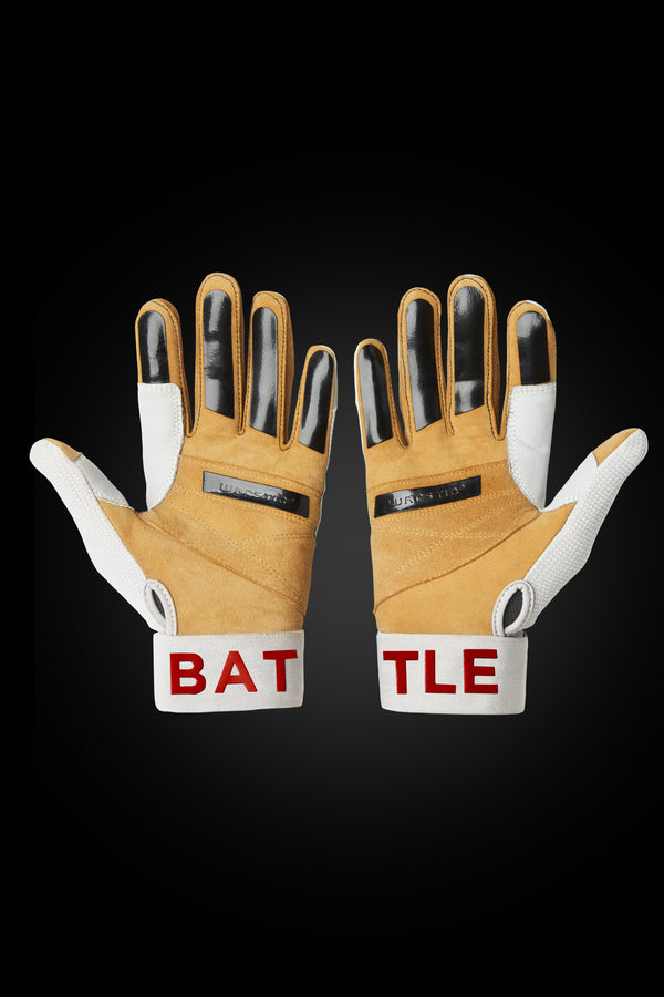 "WORKMAN3 ADULT & YOUTH BATTING GLOVES ""WHITE/RED"""