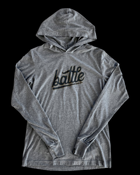 Battle Long Sleeve Hoodie Tee (Gray/Black/Gold)