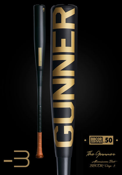 The GUNNER Ltd. Edition Black BBCOR Metal Baseball Bat