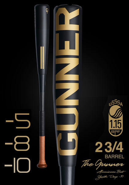 The GUNNER Ltd. Edition Black USSSA Metal Baseball Bat