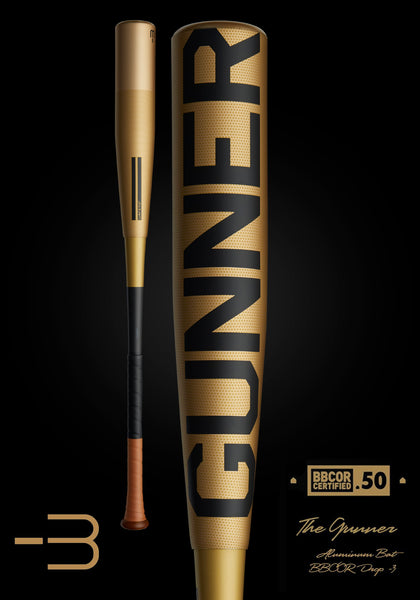 The GUNNER Ltd. Edition Gold BBCOR Metal Baseball Bat