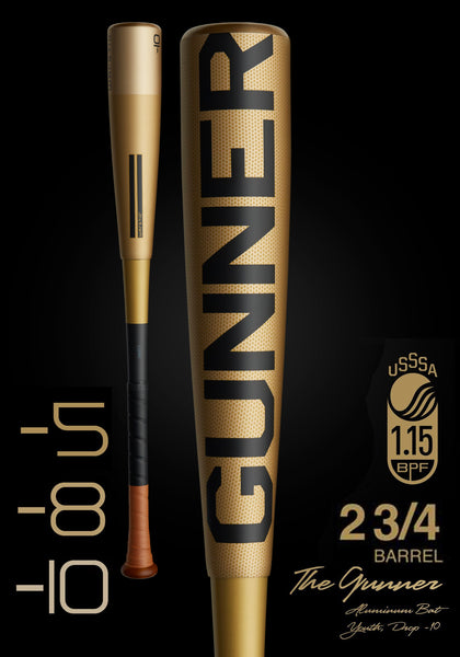 The GUNNER Ltd. Edition Gold USSSA Metal Baseball Bat