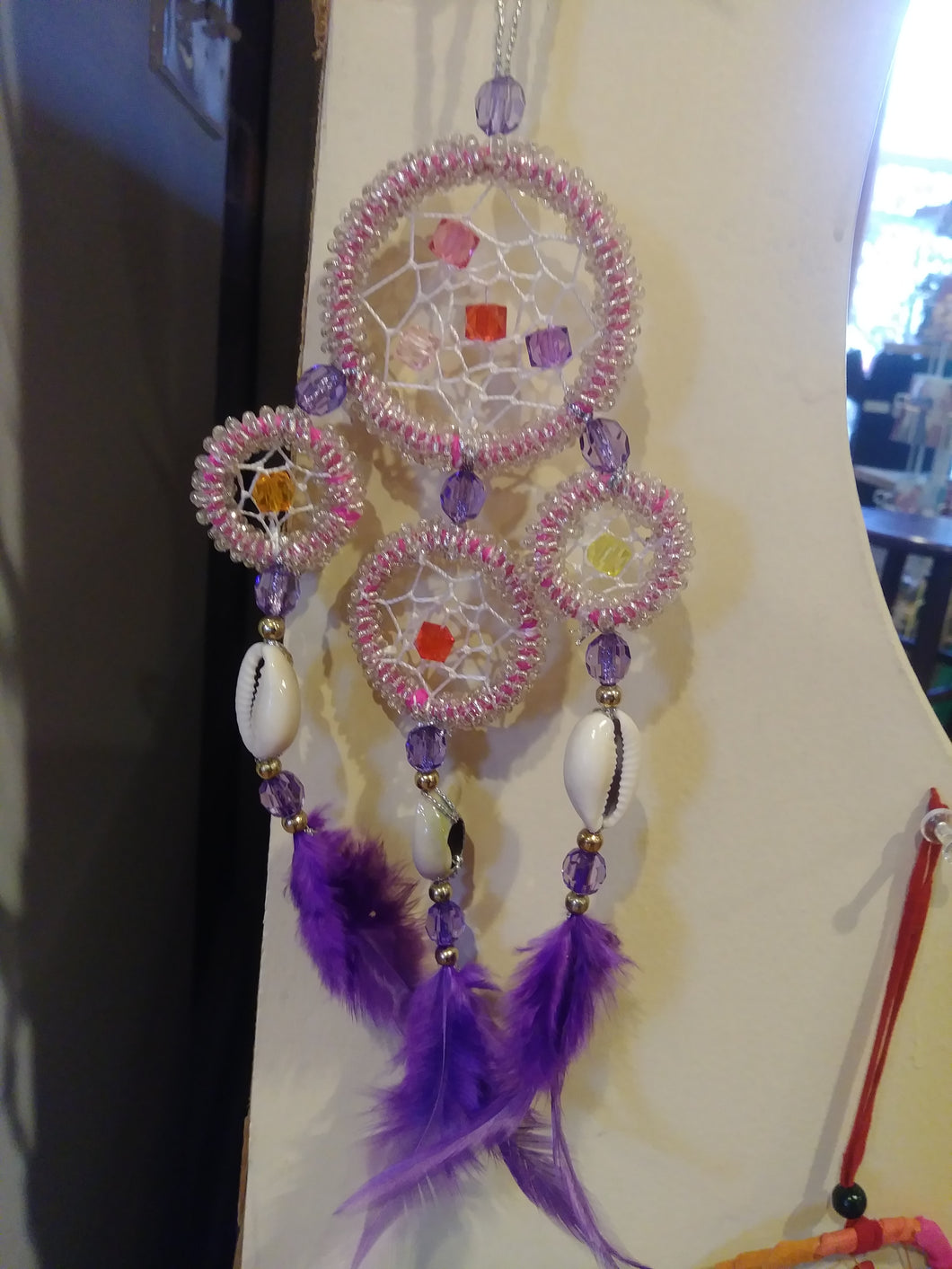 Small Pink/Clear Quartz Beaded Dream Catcher