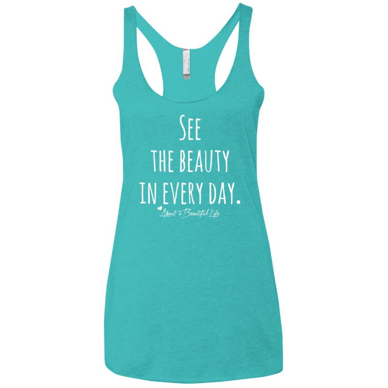 About Beauty Raw Edge Racerback Tank