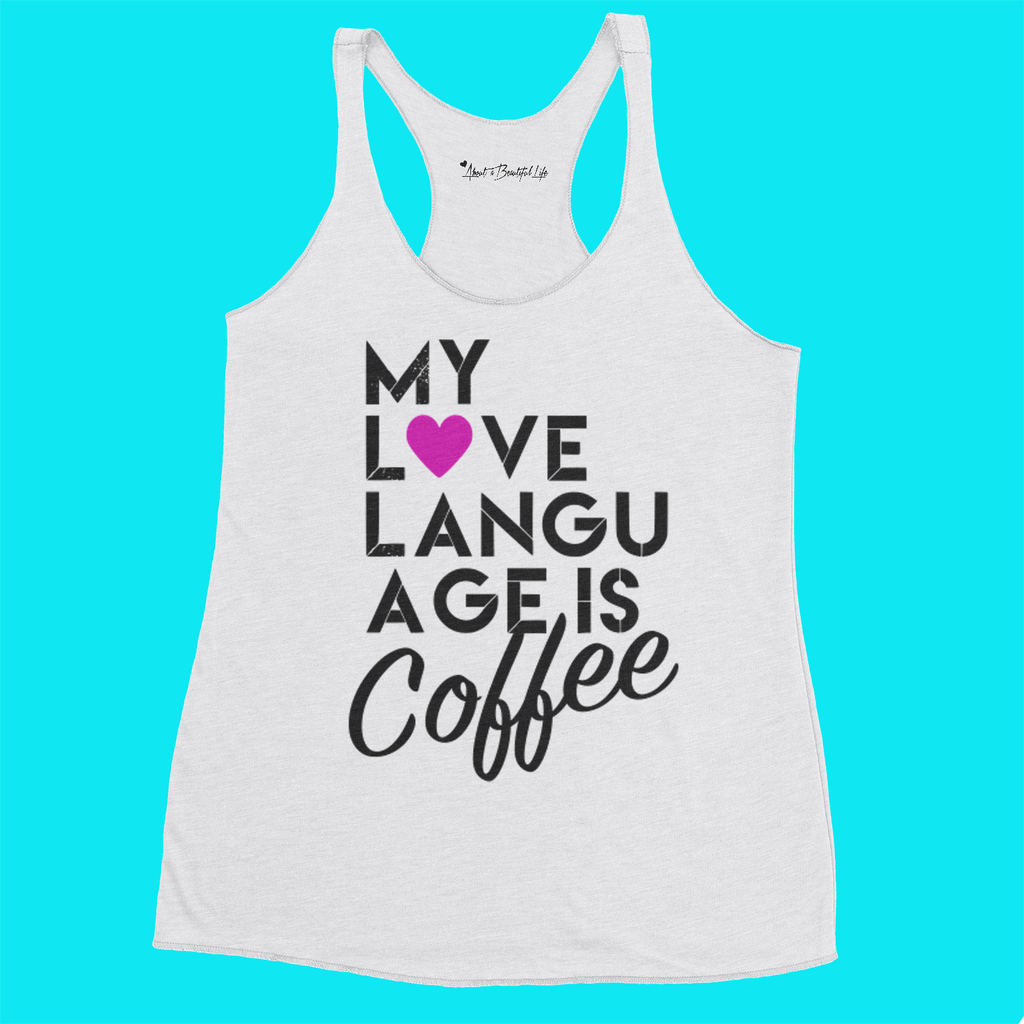 About Coffee Triblend Raw Edge Racerback Tank