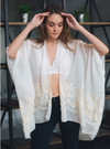 Knitted Back Black Medallion Kimono with Armholes
