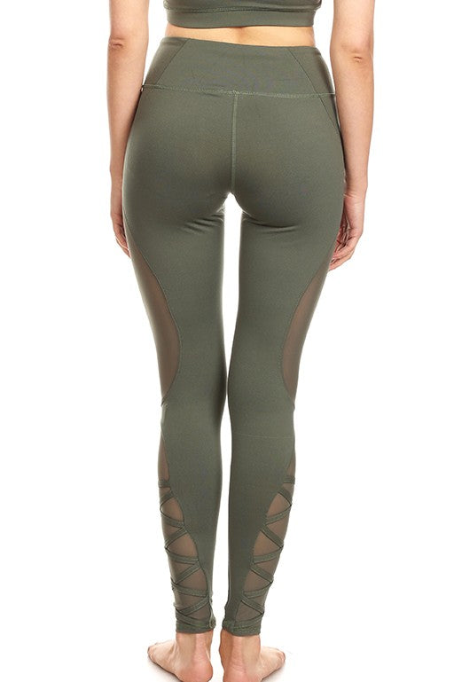 Women Military Green Yoga Legging with 4 Way Stretch