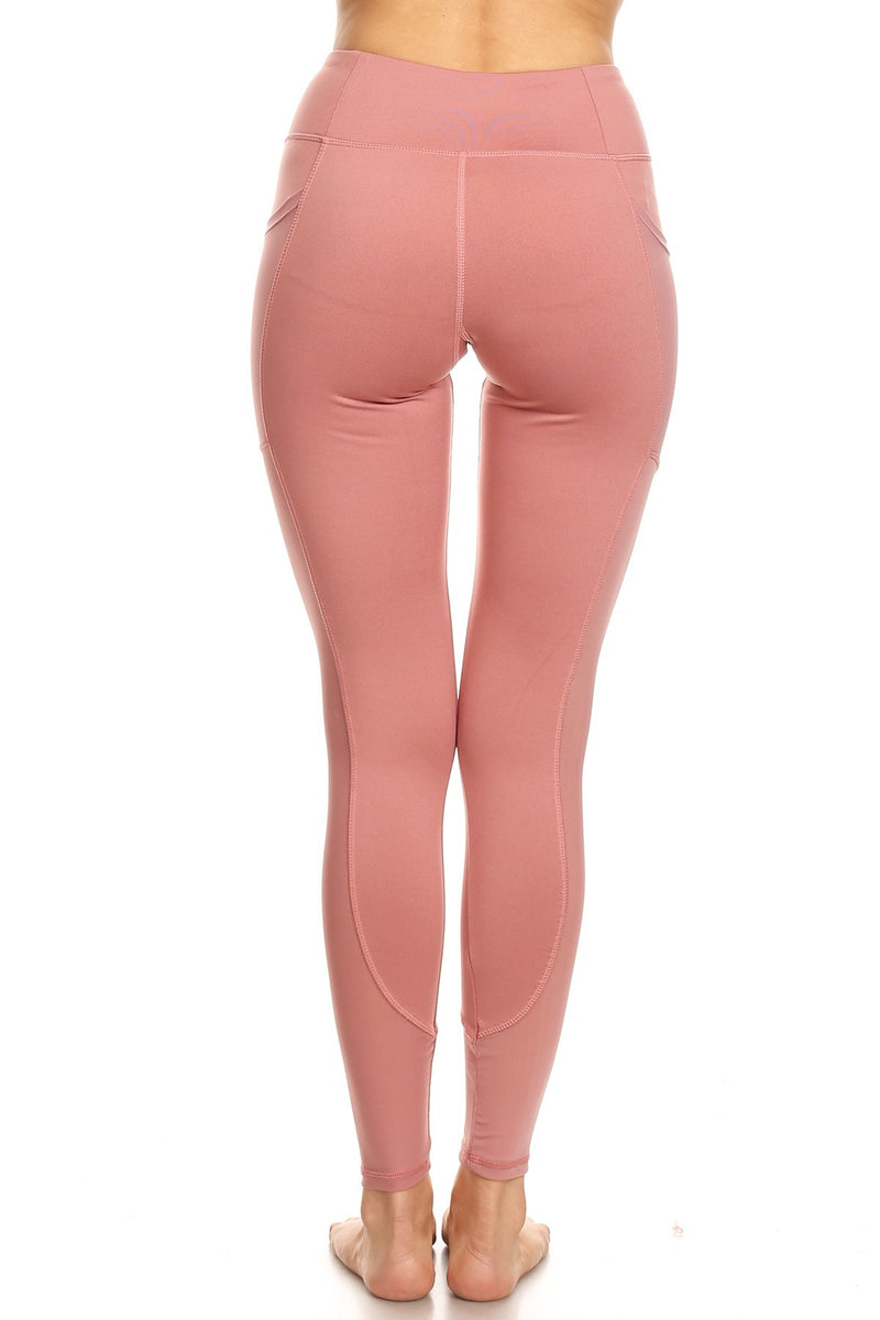 Dusty Rose High Waist Yoga Pants with side Pockets