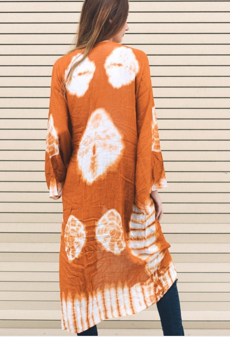 Burnt Orange Boho Tie Dye Long Kimono