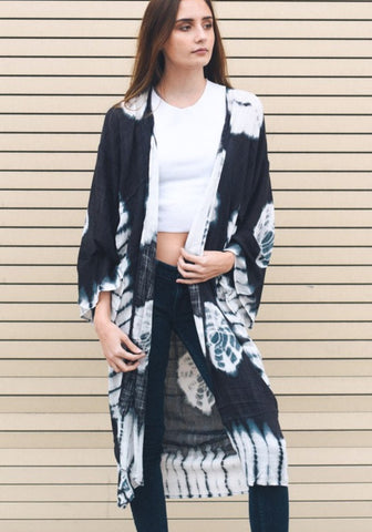 Deep Teal Blue Orange Floral  Boho Kimono