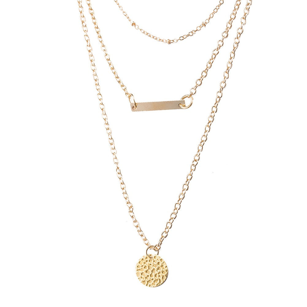 Gold Medal Layered Pendant Bar Necklace