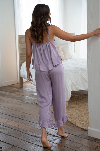 Cami Ruffle Pant Set - Dusty Lavender