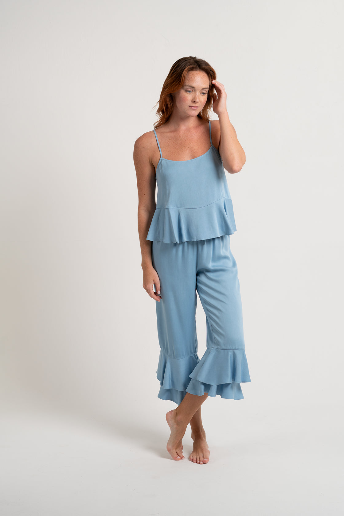 Double Ruffle Pant Set - Sky