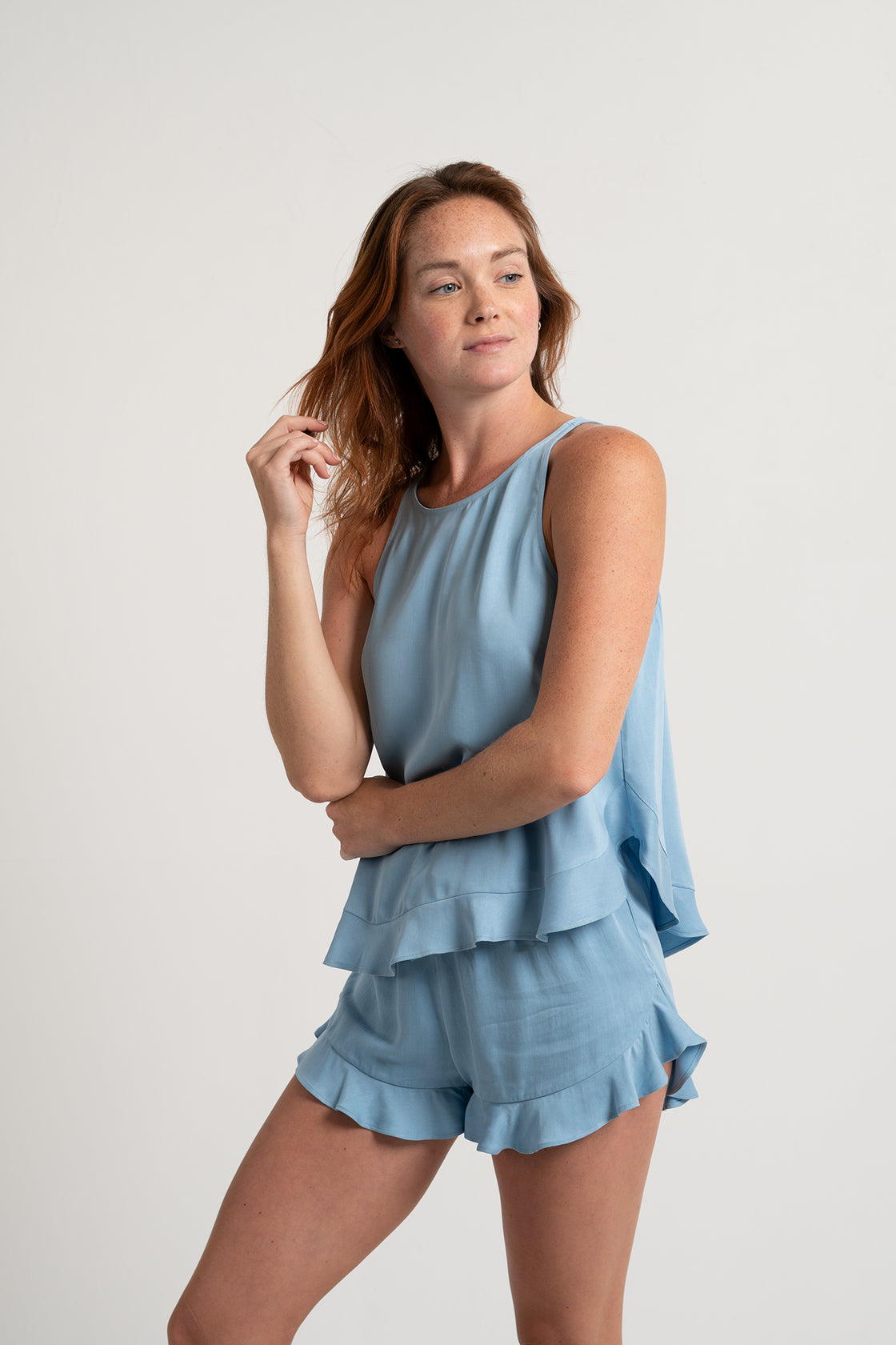 Ruffle Short Set - Sky