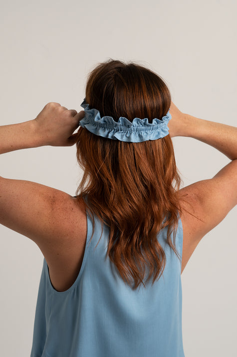 Ruffle Sleep Mask - Sky