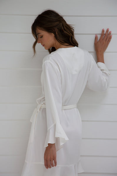 Ruffle Robe - Cloud