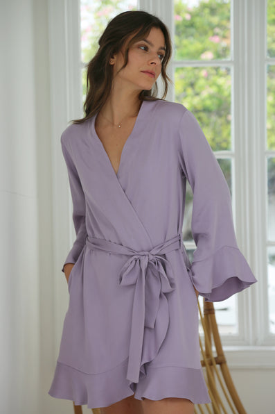Ruffle Robe - Dusty Lavender