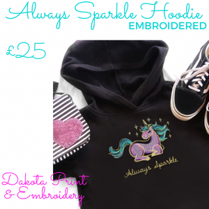 HOODIES - Kids Black Always Sparkle embroidered hoodie