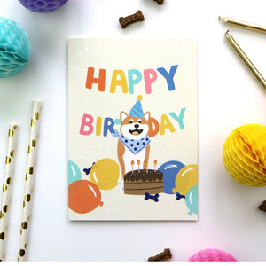Shiba Inu Happy Birthday Card by Hux Loves Honey
