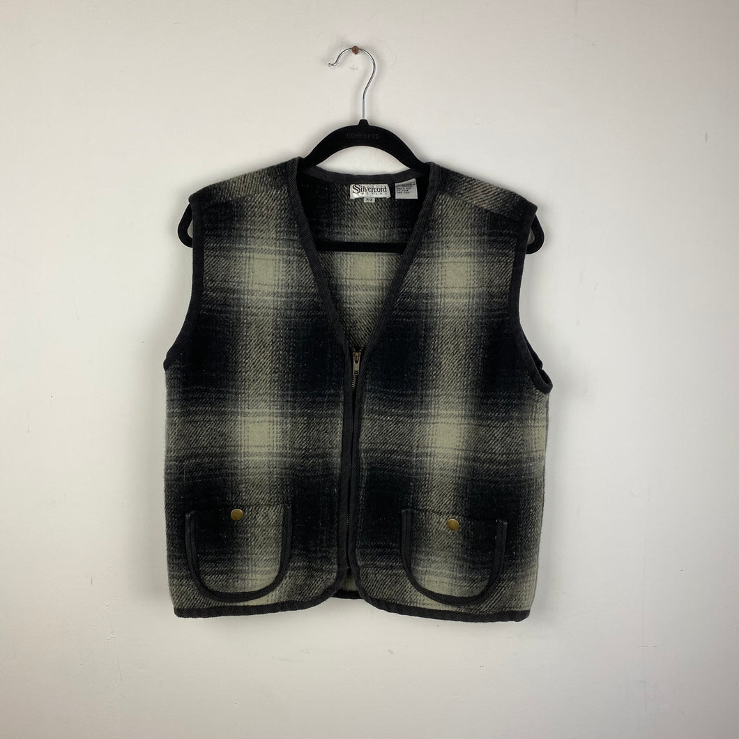 Vintage plaid zippered vest