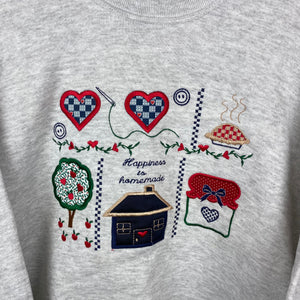 Embroidered happiness is homemade crewneck