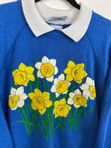 80s floral collared crewneck